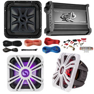 "Car Subwoofer And Amp Combo: Kicker S10L74 10"" Audio Subwoofer Speaker + 10"" White Grill With LED Lighting + Lanzar 2000W Mono Block Stereo Amplifier + 8 Gauge Marine Amplifier Installation Kit"