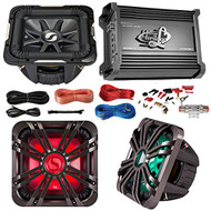 "Car Subwoofer And Amp Combo: Kicker 11S10L74 10"" Audio Subwoofer Speaker + 10"" Charcoal Grill With LED Lighting + Lanzar 2000W Mono Block Stereo Amplifier + 8 Gauge Marine Amplifier Installation Kit"