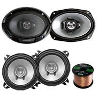 """2 Pair Car Speaker Package Of 2x Kenwood KFC-C1055S 210-Watt 4"""" Inch Black Dual Cone Speakers - Bundle Combo With 2x KFC6966S 6x9"""" 400 Watt 3-Way Audio Speaker + Enrock 16g 50 Ft Speaker Wire"""
