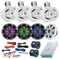 "Speaker Package Of 4 Kicker 41KM654LCW 6.5"" Boat Coaxial LED Speaker + 4 AQWB69W White 6.5"" Marine Wake board Speakers + Lanzar 4800w Bluetooth Amplifier With Install Kit + Enrock 100ft Speaker Wire"