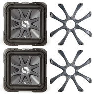 2 X 11S10L74 X Kicker 11S10L74  Solo-Baric L7 10-Inch (25cm) Square Subwoofer, Dual Voice Coil, 4-Ohm, 600W, 2 X 08GL710 X Kicker 08GL710 Square 10-Inch 250mm Cast Grille