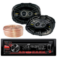 JVC KDR480 Car Radio USB AUX CD Player Receiver - Bundle Combo With 4x Kicker CS6934 6x9 Inch 900 Watt 4-Ohm 3-Way Car Audio Coaxial Speakers + Enrock 50 Foot 18 Gauge Wire