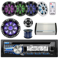 """JVC KD-R85MBS Marine Audio Stereo System Bundle With A Stereo Remote Control + 1 Kicker KMW102 10"""" LED Subwoofer + 2 Kicker 8"""" Coaxial LED Speakers With Led Remote Marine Amplifire + Enrock 50ft Wire"""