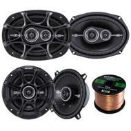 """Kicker 41DSC54 5.25"""" 2-Way Speaker, Kicker 41DSC693 D-Series 6x9"""" inch Coaxial 3-Way Speaker with 1/2"""" Tweeter, Enrock Audio 16-Gauge 50 Foot Speaker Wire"""