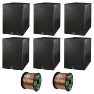 Home Theatre Speaker Package Of 6x Dual Electronics LS205EB Black Wood Grain Bookshelf Indoor/Outdoor Box Speakers + Enrock 50 Feet 16-Guage Speaker Wire