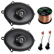 """Car Speaker Combo Of 2x Kenwood KFC-C5795PS 5x7"""" 360W 3-Way Custom Fit Coaxial Speaker Bundle With 2x Metra 72-5600 Speaker Connector for Ford, Lincoln, Mazda, Mercury, + Enrock 50ft 16g Speaker Wire"""
