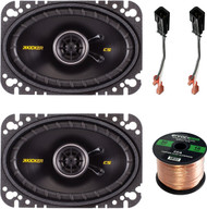 "Speaker System Set Bundle With 2 Kicker 40CS464 4x6"" 150 Watt Car Audio Speaker + Metra 72-6512 2-Pin Speaker Connector For Jeep / Chrysler Vehicles + Enrock 50ft 16g Speaker Wire"