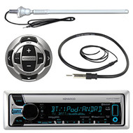 "Kenwood KMR-D765BT MP3/USB/AUX Marine Boat Yacht Stereo Receiver CD Player Bundle Combo W/ RC35MR Wired Remote + Enrock Water Resistant 22"" Radio Antenna + Outdoor Rubber Mast AM/FM 45"" Antenna"