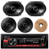 "JVC KDR480 Car Radio USB AUX CD Player Receiver - Bundle Combo With 2x 250W 6x8"" inch 2-Way Coaxial Car Audio Speakers + 2x 6.5-Inch Speakers + Enrock 50 Ft 18 Gauge Wire"