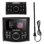 Rockford Fosgate PMX-2 Ultra Compact Bluetooth Marine Boat MP3 Digital Media Receiver Bundle Combo With PMX-0R Wired Remote Control + Enrock Black Rubber Mast Radio Antenna