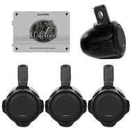 "Marine Speaker Package: 4 x Qpower QPTS65B 6.5"" Inch Marine Boat ATV 300 Watt Black Tower Speakers + Lanzar AQA430SL 1800 Watts 4 Channel Mini Mosfet Marine Amplifier"