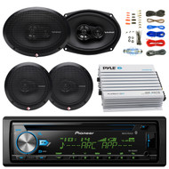"Pioneer DEH-X6900BT Car Bluetooth Radio USB AUX CD Player Receiver - Bundle Combo With 2x Rockford Fosgate 6.5"" Inch 180 Watt & 2x 6x9"" 260-Watts 3-Way Coaxial Speaker + 4-Channel Amplifier + Amp Kit"