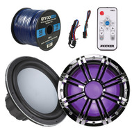 Kicker 43KMW102 KMW10 10-Inch Marine Subwoofer, Kicker 43KMW10GLCR 10-Inch Chrome Subwoofer LED Grille, Kicker 41KMLC Marine LED Light Remote Controller, EnrockMarine 16 Gauge 50 Feet Tin Plated OFC Speaker Wire Cable corrosion resistant jacket