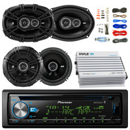 "Pioneer DEH-X6900BT Car Bluetooth Radio USB AUX CD Player Receiver - Bundle Kit With 2 Kicker DSC69304 6x9"" Coaxial 3-Way Car Speaker + 2x DSC654 6.5"" 2-Way Speaker + 4-Channel Amplifier + Amp Kit"