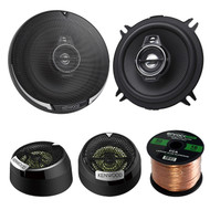 "2 Pair Car Speaker Package Of 2x Kenwood KFC-1395PS 5 1/4 320-Watt Black Audio Coaxial Speaker Bundle With Kenwood KFC-ST01 1"" Inch 160-Watt Dome Tweeters+ Enrock 16g 50Ft Speaker Wire"