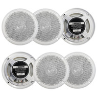 """3 Pairs Of Magnadyne WR50W 5"""" Inch Slim Profile Waterproof Marine, Boat, Hot Tub, Outdoor Speaker with Integrated Plastic Grill - White"""