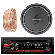 JVC KDR480 Car Radio USB AUX CD Player Receiver - Bundle Combo With 12-Inch Dual 4-Ohm Single Voice Coil Subwoofer + Enrock 50 Foot 18 Gauge Wire