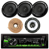 "JVC KD-R680S Single DIN In-Dash CD/AM/FM/ Car Stereo Receiver w/ Detachable Faceplate, Enrock Audio 16-Gauge 50 Foot Speaker Wire, 2 X KFC1665S X Kenwood KFC-1665S 6 1/2"" Sport Series 2-Way Flush Mount Coaxial Car Speakers"
