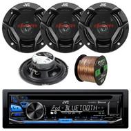 JVC KD-R670 Single DIN In-Dash CD/AM/FM/ Receiver, JVC CS-DR620 300W Peak (50W RMS) 6.5a 2-Way Factory Upgrade Coaxial Speakers, Enrock Audio 16-Gauge 50 Foot Speaker Wire