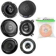 """3 Pairs Car Speaker Package Of 2x Kenwood KFC-1065S 4"""" Inch 210-Watt Coaxial Speakers + 2x KFC-1665S 6 1/2"""" 2-Way Black Car Speakers + 2x KFC-1695PS 6.5"""" 3-Way Speaker + Enrock 18g 50 Ft Speaker Wire"""