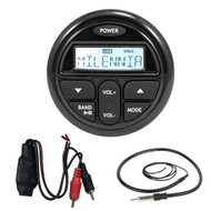 """Marine Audio Package Kit of Milenna PRV17 Marine Boat Yacht Gauge Style AM/FM Radio Stereo Receiver Media Player Bundle Combo With RCA To Bluetooth Adapter Dongle + Enrock 22"""" Radio Antenna"""