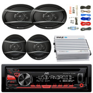 "JVC KDR480 Car Radio USB AUX CD Player Receiver - Bundle With 2x TSA1676R 6.5"" 3-Way Car Audio Speakers - 2x 6.5""-6.75"" 4-Way Stereo Speaker + 4-Channel Bluetooth Amplifier + Amp Kit"