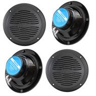 "2 Pairs (Total of 4) Of Magnadyne WR40B 5"" Inch Waterproof Marine Boat & Hot Tub Dual Cone Audio Stereo Speakers - Black"