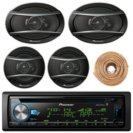 "Pioneer DEH-X6900BT Car Bluetooth Radio USB AUX CD Player Receiver - Bundle With 2x TSA1676R 6.5"" 3-Way Car Audio Speakers - 2x 6.5""-6.75"" 4-Way Stereo Speaker + Enrock 50Ft 18 Gauge Wire"