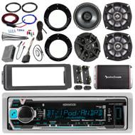 "Kenwood KMRM318BT Stereo Receiver Bundle, 2x Kicker 6.5"" Speaker + 2 5.25"" Speaker + 12' Wire + Speaker Adapters + 4-Channel Amplifier + Amp Kit + Dash Trim Kit + Handle Bar Conroller + Enrock Antenna"