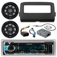 "2014 and Up Harley Audio Package - Kenwood KMRM315BT Marine Stereo Receiver Bundle Combo With Dash Kit, Handle Bar Controller for Motorcycles, 2x PSC65 6.5"" PowerSport Speakers, Enrock Radio Antenna"