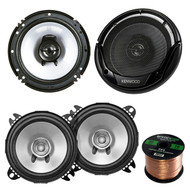 "2 Pair Car Speaker Package Of 2x Kenwood KFC-C1355S 5 1/4"" 250-Watt 2-Way Flush Mount Coaxial Speakers + 2x KFC-1665S 6 1/2"" Inch 2-Way Black Dual Cone Speakers + Enrock 16g 50 Ft Speaker Wire"