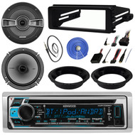 """Kenwood KMR-D368BT Stereo CD Receiver Bundle Combo With 2x Kicker 6.5"""" Speakers W/ Brackets + Dash Kit & Handle Bar Control Module For 98-2013 Harley Motorcycles + Enrock Antenna + 50Ft Speaker Wire"""