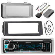"""Kenwood KMRM318BT MP3/USB/AUX Stereo Receiver Player W/ Weather Shield Cover - Bundle Combo With Dash Trim Kit + Handle Bar Conroller for 98-2013 Harley Motorcycles + Enrock 22"""" Wired Antenna"""