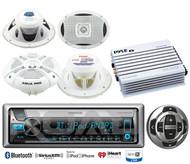 """Kenwood USB CD Bluetooth Marine Radio/Remote,Amplifier,7.7""""& 6x9""""Marine Speakers"""