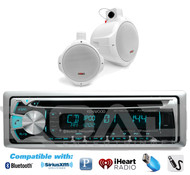 "Marine Kenwood Bluetooth USB CD Radio,2 White 200W 2Way 6.5"" Wake Board Speakers"