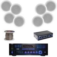 "8"" 300W In-Ceiling Speaker System,AM/FM DVD USB Receiver,Speaker Selector,Wiring"