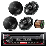 """JVC KDR490 Car Radio USB AUX CD Player Receiver - Bundle Combo With 4x Pioneer TSG1620F 6.5"""" 300W 3-Way Black Car Coaxial Audio Speakers + Enrock 50 Ft 16 Gauge Wire"""