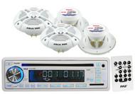 "7.7""Marine White 2Way Speakers,1200W Bluetooth Amplifier, USB AM FM  CD Receiver"