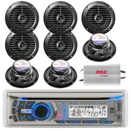 Dual Marine Detachable Face Stereo Radio CD MP3 Receiver + 800W Amp /8 Speakers