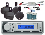 "Marine White USB AUX AM FM Radio,4 Black 8"" Wake Board Speakers/Wires,Amplifier"