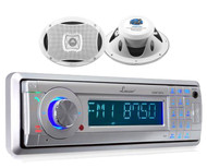 AQMP70BTS In-Dash Marine Detachable Stereo W/Bluetooth+ 500W 2-Way Boat Speakers