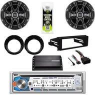 "Dual Bluetooth CD Radio, Amp, 6.5"" Speakers/Adapters, Harley FLHX FLHT Dash Kit"