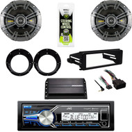 JVC USB AUX Radio, FLHTC FLHX Harley Install Kit, Amplifier, Kicker Speaker Set