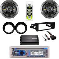 "AMB600W Bluetooth Radio,Harley FLHX Install Kit,Amp,6.75""Kicker Speakers/Adapters"