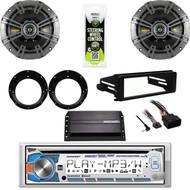 "AM425BT CD Radio, Harley Dash FLHX 98-2013 Kit, 6.75""Kicker Speaker Set,Amplifier"