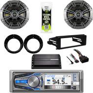 """AM615BT CD Stereo, Amp, 98-2013 FLHX FLHT Harley Install Kit, 6.75"""" Speaker Set"""