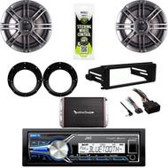 """JVC Marine USB Stereo, Harley FLHTC DIN Adapter Kit, 300W Amp, 6.5"""" Speaker Set"""