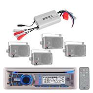 "New Boat Marine Sirius Ready USB CD AUX iPod Radio,3.5"" Silver Speakers 800W Amp"