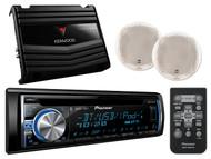 "AUX iPhone USB CD Bluetooth Pioneer Radio,400W Amplifier,Dual 6.5""White Speakers"