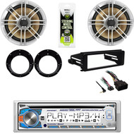 Bluetooth CD Receiver, 98-2013 Harley Install FLHT DIN Kit, Speakers & Adapters